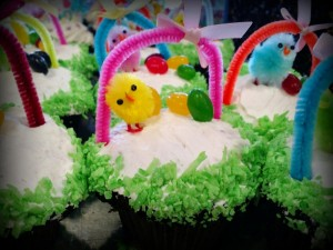 Easter Basket Cupcake - Chocolate Cake