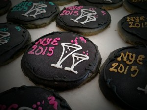 New Year's Decorated Cocktail Themed Sugar Cookie