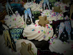 New Year's Decorated Chocolate Cupcakes